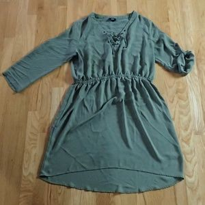 Army Green Long Sleeve Lace Up Dress Blouson